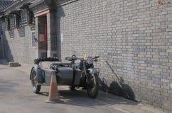 Army motorbike. Old army motorbike parked in Houhai lake Futong street in Beijing China royalty free stock image
