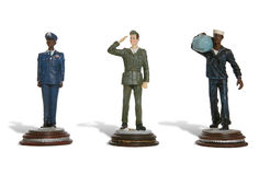Army, Navy and Airforce. Figures of men from the army, navy and airforce stock images