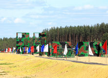 Army obstacle course. Is a band area equipped with a variety of obstacles and engineering structures. Designed for training military personnel in order to Royalty Free Stock Photos