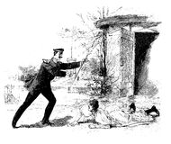 Army officer runs to help a girl stumbled outside a door. Vintage illustration, army officer helps a girl stumbled across a door Royalty Free Stock Photography