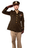 Army officer saluting, studio shot Stock Image