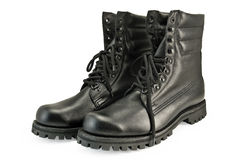 Army pair high boots Royalty Free Stock Photos
