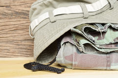 Army pants and hat Stock Photo