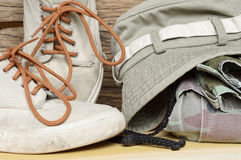 Army pants and sneakers Royalty Free Stock Image