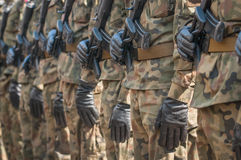 Army parade - armed soldiers in camouflage military uniform Royalty Free Stock Photo