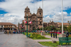 Army parade Plaza de Armas  Cuzco Peru Royalty Free Stock Images