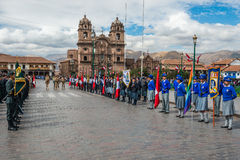 Army parade Plaza de Armas  Cuzco Peru Stock Images
