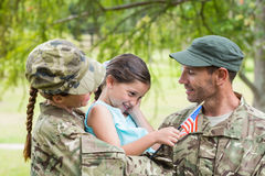 Army parents reunited with their daughter Royalty Free Stock Images