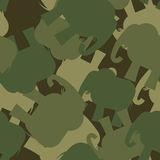 Army Pattern elephant. Camo background of green elephant. Milita Stock Photos