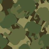 Army Pattern elephant. Camo background of green elephant. Milita Stock Photos