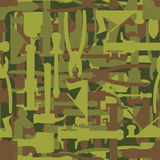 Army pattern tool. Military camouflage texture Vector of hammer, Royalty Free Stock Images