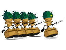 Army of pawns. Vector illustration of the walking army of pawns Royalty Free Stock Images