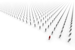 Army of People, One Red Royalty Free Stock Images