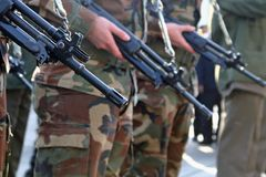 Army Platoon. During a parade in Italy Stock Photo