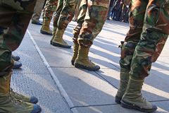 Army Platoon. During a parade in Italy Royalty Free Stock Photography