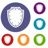 Army protective shield icons set Stock Photos