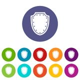Army protective shield set icons Royalty Free Stock Photo