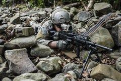 Army ranger machine gunner. United states army ranger machine gunner in the forest Stock Photography