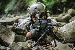 Army ranger machine gunner. United states army ranger machine gunner in the forest Stock Images