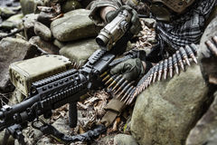 Army ranger machine gunner. United states army ranger machine gunner in the forest Royalty Free Stock Photo