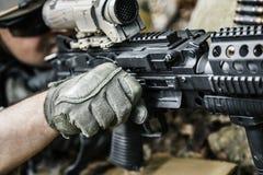Army ranger machine gunner. United states army ranger machine gunner in the forest Royalty Free Stock Images