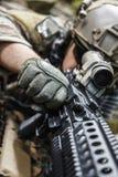 Army ranger machine gunner. United states army ranger machine gunner in the forest Stock Photos