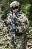 Army ranger machine gunner. United states army ranger machine gunner in the forest Royalty Free Stock Photos
