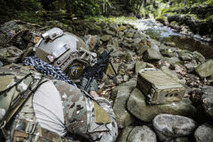 Army ranger machine gunner. United states army ranger machine gunner in the forest Stock Image