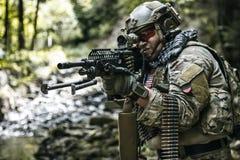 Army ranger machine gunner. United states army ranger machine gunner in the forest Royalty Free Stock Image