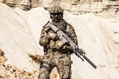 Army ranger in the mountains Royalty Free Stock Photography