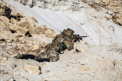 Army ranger in the mountains Royalty Free Stock Image