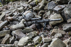 Army ranger sniper. United states army ranger sniper in the forest Royalty Free Stock Photos