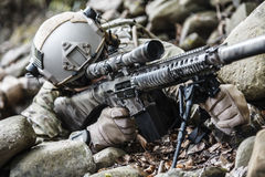 Army ranger sniper. United states army ranger sniper in the forest Stock Images