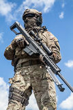 Army ranger sniper. US Army ranger sniper with huge rifle Stock Images