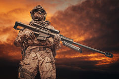 Army ranger sniper. US Army ranger sniper with huge rifle Royalty Free Stock Images
