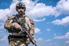 Army ranger. United States Army ranger with assault rifle Royalty Free Stock Image