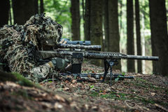 Army rangers sniper pair. United states army rangers sniper pair in the forest Stock Photography