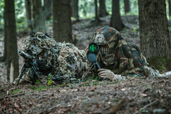 Army rangers sniper pair. United states army rangers sniper pair in the forest Stock Photo