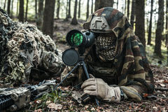 Army rangers sniper pair. United states army rangers sniper pair in the forest Royalty Free Stock Photos