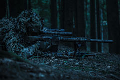 Army rangers sniper pair. United states army rangers sniper pair in the forest Royalty Free Stock Photo