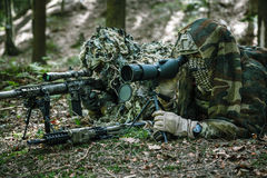 Army rangers sniper pair. United states army rangers sniper pair in the forest Stock Images