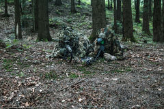 Army rangers sniper pair. United states army rangers sniper pair in the forest Stock Photos