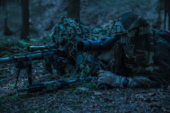 Army rangers sniper pair. United states army rangers sniper pair in the forest Royalty Free Stock Photography
