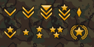 Army rank signs. Military rank signs on camo background Stock Photo