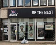 Army recruiting office Swindon. Swindon, United Kingdom - May 04 2019:   The entrance to the Army recruiting office in Commercial Road royalty free stock image
