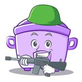 Army rice cooker character cartoon Royalty Free Stock Photography