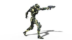 Army robot, armed forces cyborg, military android soldier shooting gun on white background, 3D render. Ing royalty free illustration