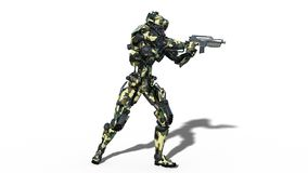 Army robot, armed forces cyborg, military android soldier shooting gun on white background, side view, 3D render. Ing royalty free illustration