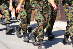 Army running with walking event Royalty Free Stock Photos