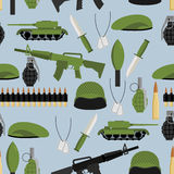 Army seamless pattern. Arms background. Tanks and hand grenade. Stock Photos